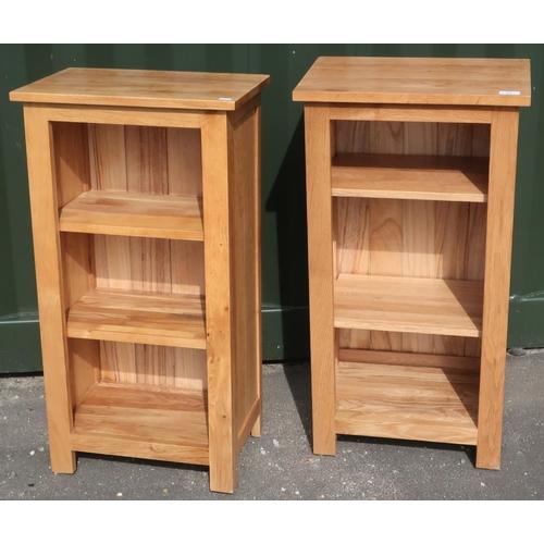 71 - Pair of modern light oak two tier open shelving units (45cm x 30cm x 85cm)...