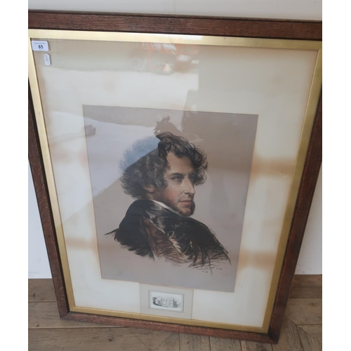 85 - Large framed portrait lithograph by M. Jauci C. Brocky (74cm x 97cm) and two other similar framed en...