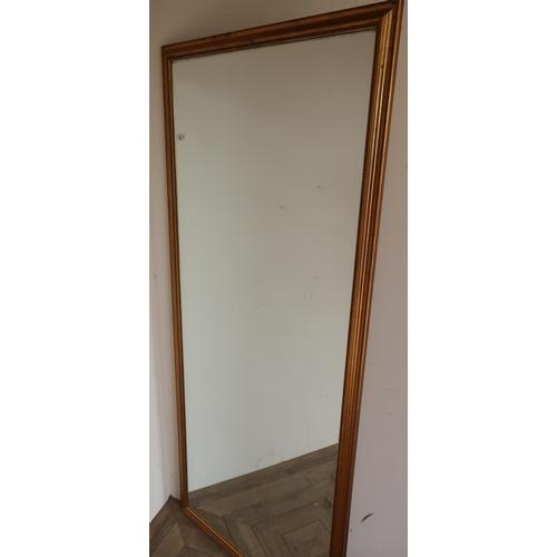 92 - Large gilt framed rectangular wall mirror (85cm x 193cm)...