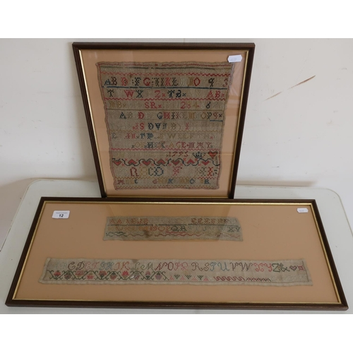 12 - Framed and mounted needlework sampler dated 1795 and another framed display of two woolwork samplers...