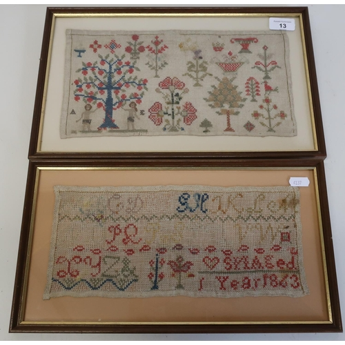 13 - Two framed and mounted 19th C woolwork samplers (39cm x 24cm including frame, and 21cm x 37.5cm incl...