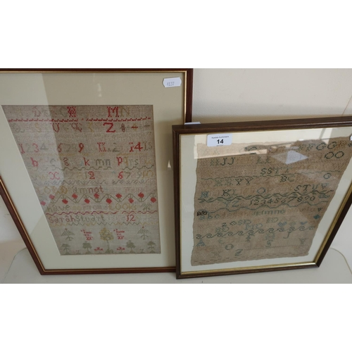 14 - Two framed and mounted needlework samplers...