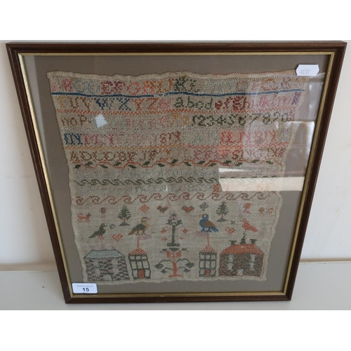 15 - Framed and mounted 19th C sampler with letters, numbers and various pictures (36.5cm x 39cm)...