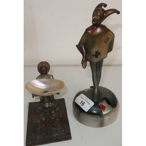 16 - c. 1920's bridge marker in the form of a cast metal jester on marble base (A/F - repair to legs wher...