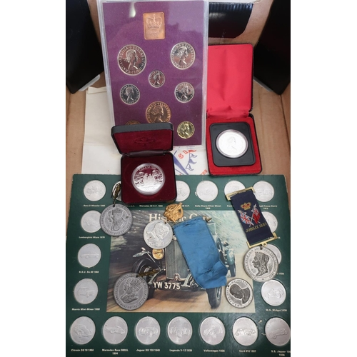 17 - Group of historic car tokens, various commemorative medals including Jubilee 1887, Edward VII corona...