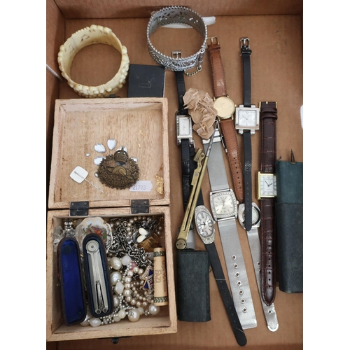 18 - Selection of various ladies and gents wristwatches, costume jewellery, bracelets, 10th Canadians WWI...