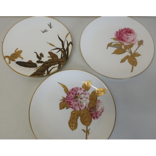 20 - Pair of Minton cabinet plates with gilt and floral pattern (diameter 24.5cm) and a Worcester cabinet...