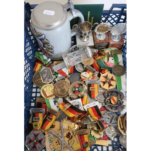 21 - Collection of German related shooting medals, trophies and tankards comprising of a large quantity o...