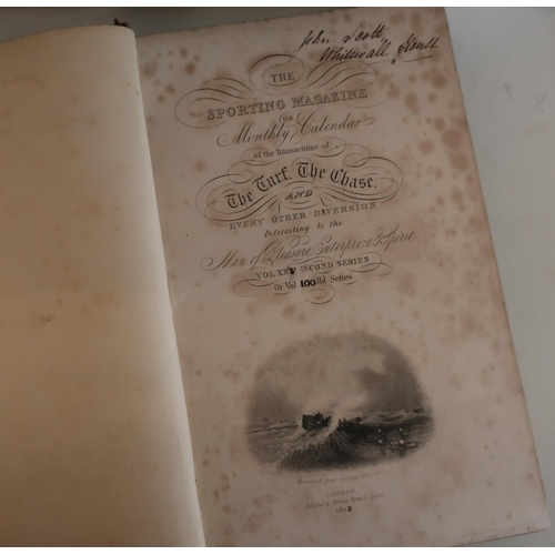 28 - Selection of leather bound edition The New Sporting Magazine circa 1830's (10)...