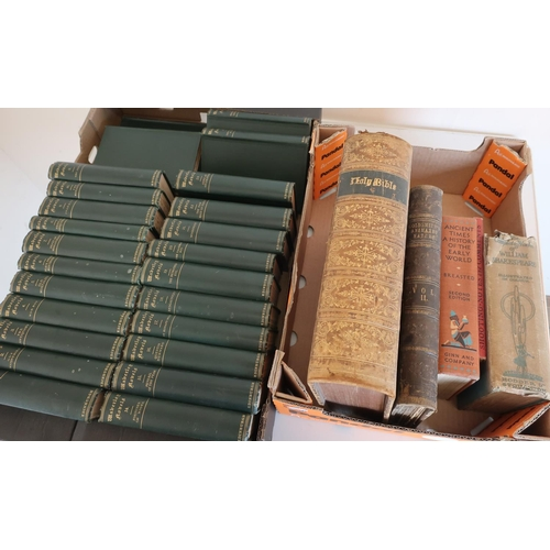 29 - Selection of 19th C and later books, including Volume Two Goldsmith's Animated Nature, Bible, Waverl...