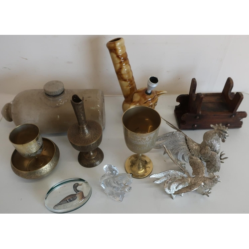 33 - Pair of silver plated fighting cockerels, glass paperweights, stoneware hot water bottle etc...