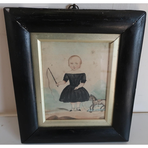 38 - 19th C ebonised framed watercolour of a young girl with toy horse (19.5cm x 22.5cm)...