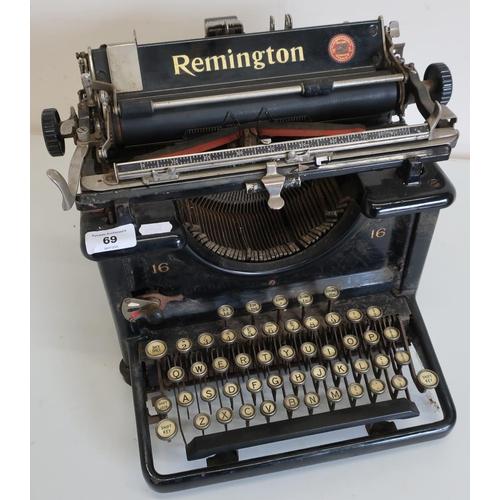 69 - Remington No. 16 typewriter, made in the USA, rebuilt by British Labour at the Remington Typewriter ...