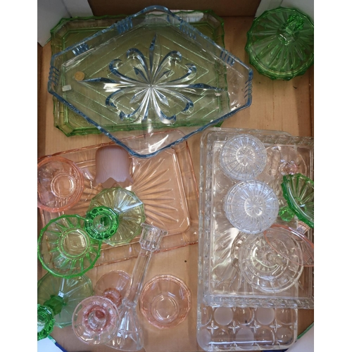 137 - Box of various assorted early - mid 20th C glassware including dressing table sets...