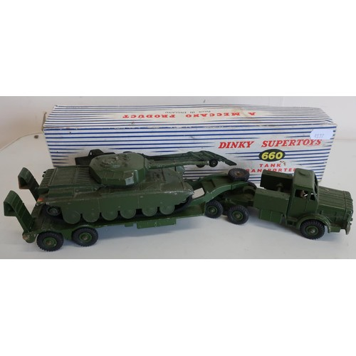 9 - Boxed Dinky Supertoys 660 tank transporter and a Dinky 651 Centurion tank...