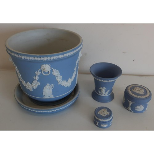 10 - Wedgwood blue jasperware jardiniere and stand and three other pieces of Wedgwood...