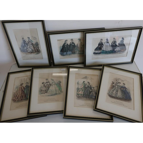 11 - Group of framed and mounted fashion prints from The English Woman's Domestic Magazine (7)...