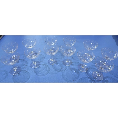 35 - Set of twelve c.1920's martini type glasses with etched star pattern...