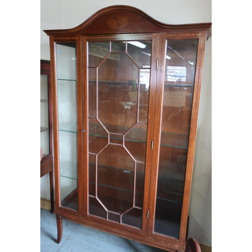 95 - Edwardian mahogany inlaid display cabinet with arched top, enclosed by single glazed door with three...