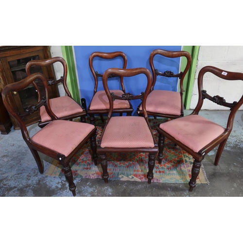 165 - Set of six Victorian mahogany dining chairs with drop-in upholstered seats and turned supports...