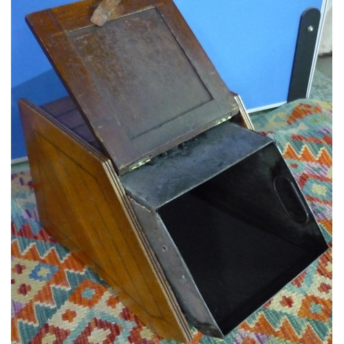 126 - Edwardian mahogany slope front coal box with brass handle and coal shovel and panelled detail to the...