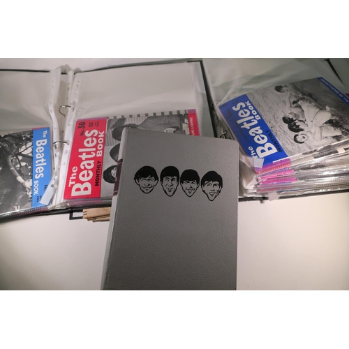145 - Rare The Beatles book binder and large selection of The Beatles book monthly magazines, The Beatles ...