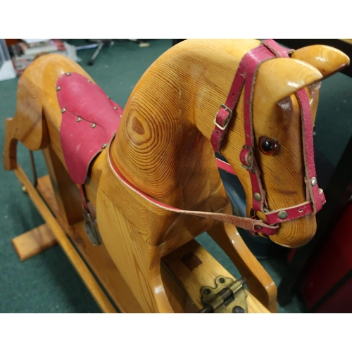 167 - Traditional carved wood pine rocking horse (height 81cm)...