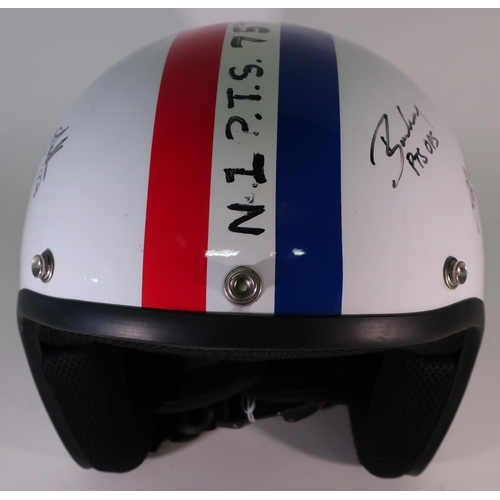 319 - MOD type helmet with RAF Roundel and decals with  various signatures...