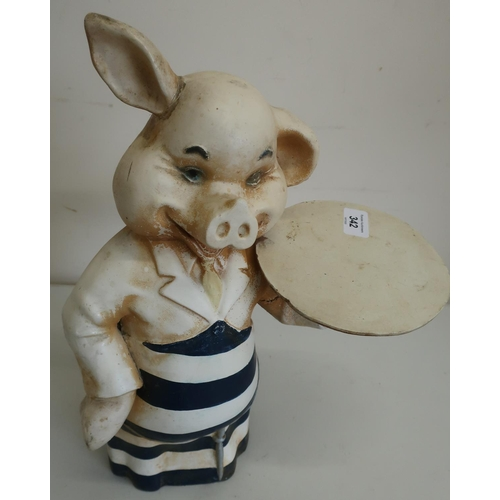 342 - Circa 1920s/30s butchers shop window advertising pig figure (approx height 40cm)...