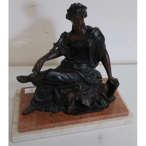 1 - Victorian style patinated resin figure of a seated classical lady on a stepped marble base (29cm)...