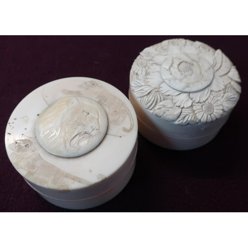 15 - Two 20th C carved ivory circular boxes (diameter 7cm)...