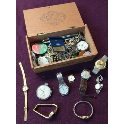 16 - Wooden box containing a quantity of various assorted costume jewellery, pocket watches, wristwatches...
