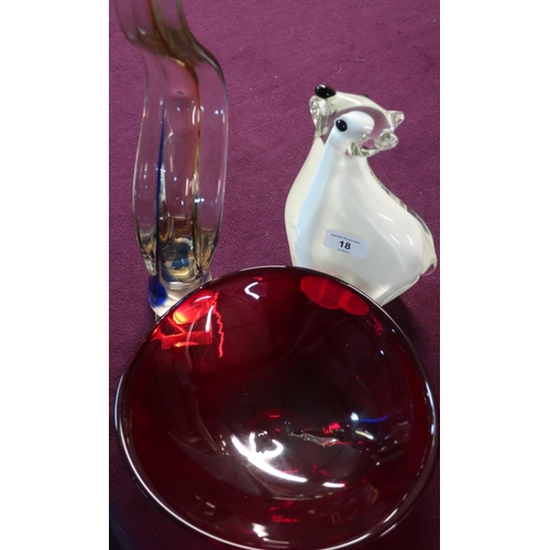 18 - Large Studio glass figure of a polar bear (24cm high), another Studio glass red bowl and another art...