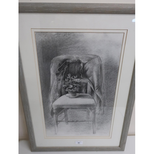 41 - D.T 90, still life study of a bedroom chair, with jacket and potted plant, pencil (70cm x 51cm)...