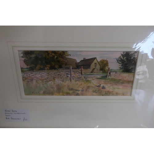 44 - Peter Partington, Fishes, and Keble Barn, unframed watercolours, signed (13cm x 23cm) 2...