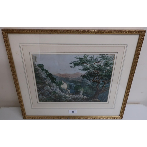 45 - Italian School, Figures by a cottage in a mountainous landscape , watercolour (22cm x 30cm)...