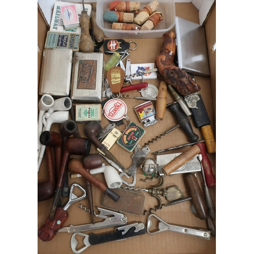 26 - Collection of various wood and clay pipes, corkscrews, lighters, bottle stoppers etc...