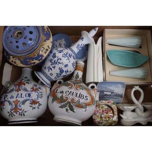 27 - Selection of various Wedgwood, World Copenhagen dish, retro cruet sets, Spanish tin glazed style cer...
