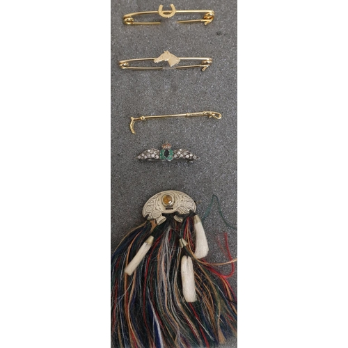 28 - Collection of various equestrian style bar brooches, RAF sweetheart brooch and a brooch in the form ...