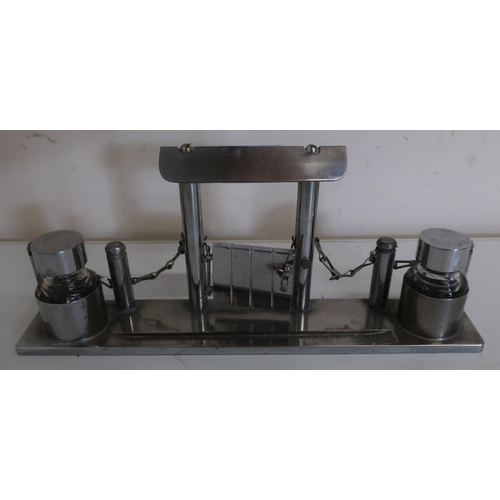 5 - Unusual silver plated inkstand in the form of a fence and gate with two inkwells and pen rest  (29cm...
