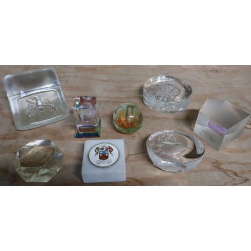 23 - Collection of various glass paperweights including a Victorian green glass dump, small witches type ...