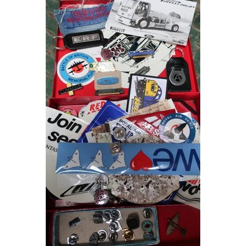 54 - ERF and Atkinson key fobs, Gardener, Cummins, and Perkins enamel pin badges, four enamel railway pin...