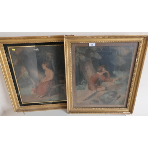 30 - Pair of 19th C gilt framed coloured prints, one of a girl titled