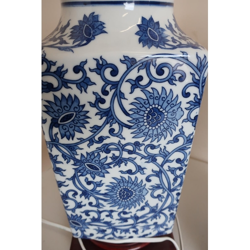 31 - Pair of blue & white Chinese table lamps, square tapering bodies on hard wood stands, with double ad...