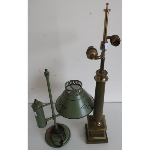 35 - 19th/20th C green and black Tole ware table lamp, converted to electric (height 40cm) and a leather ...