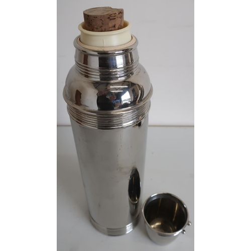 38 - Vintage silver plated large thermos flask in tan leather carry case...