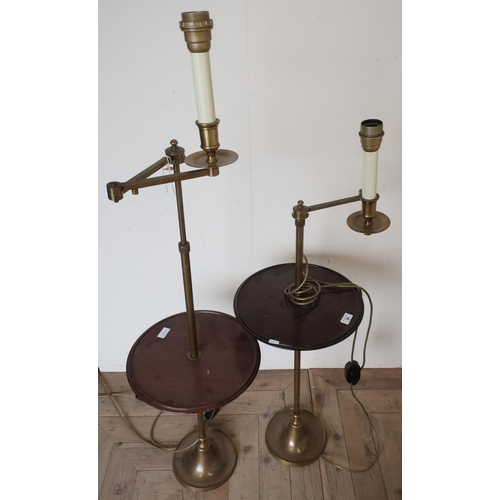 39 - Pair of 20th C adjustable floor lamps with turned circular mahogany centre table, with turned brass ...