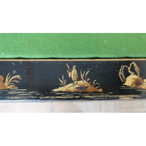 41 - C.1920s chinoiserie square topped card table with four folding legs, and centre green baise panel (7...