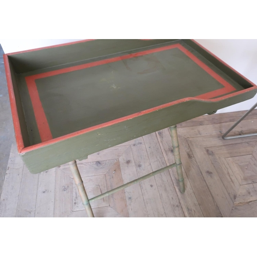 42 - 19th C painted rectangular butlers tray with shaped sides, on faux bamboo stand...