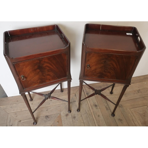 46 - Pair of mahogany George III style pot cupboards, enclosed by single cupboard doors on pad feet, shap...